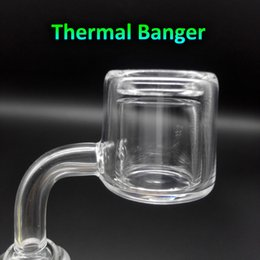 Wholesale Latest Design XXL Quartz Thermal Banger mm mm mm Double Tube Quartz Thermal Banger Nail For Glass Water Pipes Oil Rigs Glass Bongs