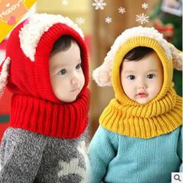 Wholesale Crochet Puppy Hats - 2017 Korean Kids Neck Wrap Scarf Hats Fashion Baby Girls Boys Children Ear Knit Sweater Cap Hats Winter Warm Knitted Puppy Hat
