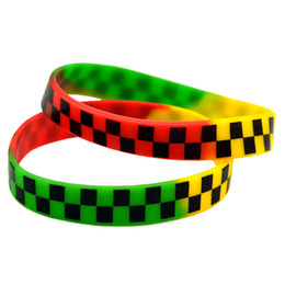Wholesale 100PCS Lot Printed Logo Checkered Silicone Wristband Punk Style Hip Hop Band For Music Fans