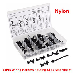 54x Car Nylon Assortments Retainer Mould Harness Wire Loom Routing Wire Clip Kit