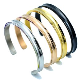 Wholesale 4 colors Hair Tie Open Bangles Bland Cuff Stainless Steel Brushed Edges for Women Girls Bracelet Bangle Amazon Hot Sale