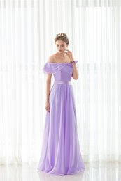 2018 New Off-the-shoulder Pleat Purple Long Bridesmaids Evening Party Formal Celebrity Dresses Chiffion Sexy Women Prom Fashion A Line Gowns