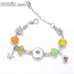 New Arrivals 6 styles Silver Plated DIY Charms snap button beads bracelet & bangle Fit 18mm snap button Jewelry