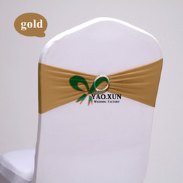 GOLD Color Lycra Spandex Chair Band Used For Wedding Spandex Chair Cover Free Shipping