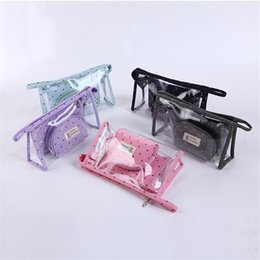 Mybasy Wholesale and transparent PVC cosmetic bag 3 packages of travel portable large capacity wash bags with makeup bag