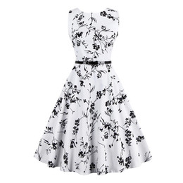 4XL Plus Size 2017 New Cheap Vintage Dresses Slash Neck A Line Sleeveless Casual Dresses Free Shipping Summer Beach Flora Printed Women Wear