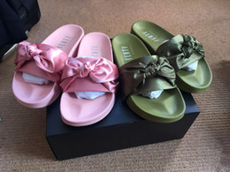 Wholesale With Boxes Dust Bag Fenty X Rihanna Bandana Slides Colors Womens Slippers Fenty Bow Slide Indoor Sandals For Women Size