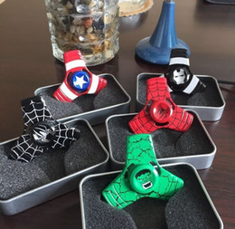Jouet à araignée à vendre-Fidget spinner Red superman spider-man Le Hulk Hand Spinner En alliage de métal Handspinner Fidget Nouveauté Décompression Toy All In retail box
