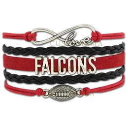 Wholesale Custom Infinity Love Atlanta State Falcons Football Bracelet Wax Cords Braided Leather Adjustable Bracelet For Football Fans Drop Shipping