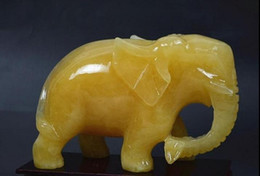 Natural light beige jade ornaments carved elephant Topaz Lucky Elephant like Feng Shui mascot accepts the wealth of attracting money