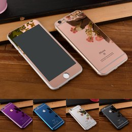 Plaque d'écran en Ligne-Protecteur d'écran coloré Verre trempé pour Iphone 6 Iphone 5 Miroir de placage couleur coloré avant et arrière Film de verre