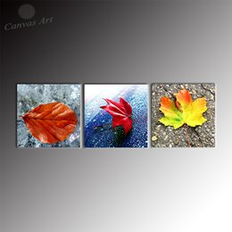 No Framed 3 Piece Canvas Art Colorful Leaf Digital Painting Wall Art Pictures Set for Restaurant Decoration