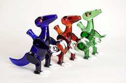 """7"""" tyrannosaur with white claws and a clear ball dinosaur oil rigs dab rigs with COLORED female polished joint 14.5mm"""
