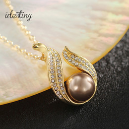 High quality gold color plated pearl pendant necklace best nickel lead free jewelry accessories for Mother's Day gift