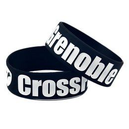 Wholesale 50PCS Lot 1 Inch Wide CrossFit Grenoble Silicone Wristband For Fitness Fans Bracelet Black White Red