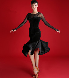 Black Adult Girl Latin Dance Dress Salsa Tango Chacha Ballroom Competition Dance Dress Mesh Stitching Sexy V-Collar Long Sleeve Velvet Dress