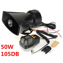 Wholesale 50W V Sounds Car Motorcycle Truck Vans Mopeds Speaker Loud Siren Horn db With MIC Microphone MOT_50X
