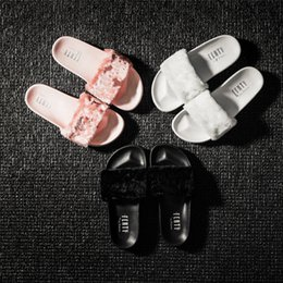 Wholesale With Box and Dust Bags Brand New Rihanna Fenty Leadcat Fur Slides Pink Black White Slide Sandal Womens Slippers retail