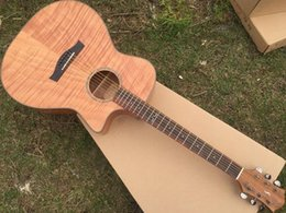 Acheter en ligne Acoustique de érable flammé-Fabrication artisanale Okoume flamme érable bois acoustique guitare électrique 40inch
