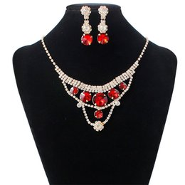 Wholesale Lady Multi Crystal Necklace - Europe Jewelry Sets For Bridal Multi Layers Crystal Necklace Earring Set For Women Ladies Wedding Gift