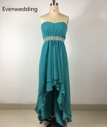 Pleated Chiffon Bridesmaid Dress Short Front Long Back 2019 High Low Party Dress Robe Vert Menthe