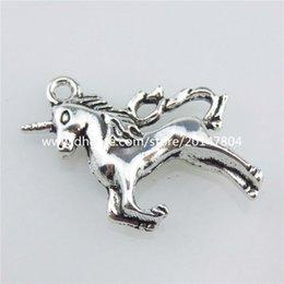 Wholesale 20674 X Vintage Silver Alloy Aniaml mm Myth Unicorn Pendant Jewelry Findings