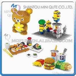 Wholesale DHL Mini Qute Wise Hawk Sushi SpongeBob Minion Rose Rilakkuma plastic building block model Action Figures educational toy
