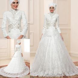 Novias musulmanes vestidos simples en venta-Encanto Dubai una línea de vestidos de novia Vestido formal de encaje de la vendimia musulmana de la novia cuentas de manga larga vestido de novia de cuello alto por encargo