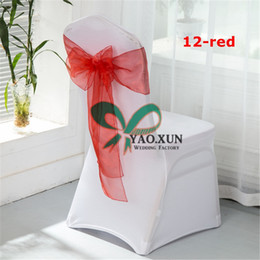 50pcs White Lycra Spandex Chair Cover With Red Organza Chair Sash