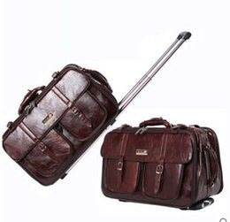 Wholesale leather Luggage Suitcase Women Men brown black boarding package carry on Business Travel Bags