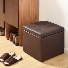 Brand NewBedroom room Can be stored Clamshell PU leather Solid wood frame stool Manufacturers spot wholesale Carton