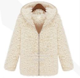 Vêtements Femmes New Winter Femmes Mousseline Shaggy Manteau Faux Fur Zipper Outerwear Hoodie épais Beige hoodie fur for women on sale à partir de hoodie de la fourrure pour les femmes fournisseurs
