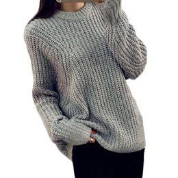Senhoras jumpers casuais à venda-Atacado-Inverno O-Pescoço soltas mulheres casuais Sweater Batwing Oversize Jumper Puxe Crochet Ladies Tops Knitwear