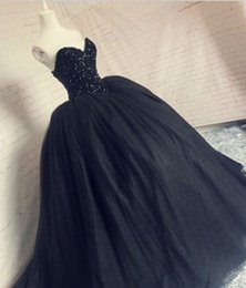 Wholesale Ship Images Large Size - Free shipping!Large size Pretty Strapless Sweetheart Ball Gown Floor length Black Wedding Dress vestidos de noiva