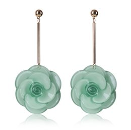 wholesale high quality Jewelry jad flower wed long clip on earring plastic Resin circular round diamond chandelier earring four colors China