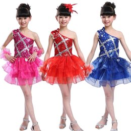 Blue Sequined Kids Girls Ballet Jazz Dance dress Girls Party Competitions show Dresswear Chldren's Mdoern Hip Hop dancing dress
