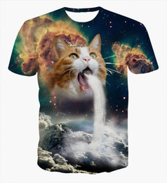 Wholesale Alisister Solar Kitten T Shirt cat vomiting a waterfall onto Earth vibrant t shirts Summer galaxy nebula space tees for Unisex