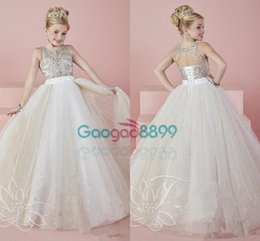 Wholesale 2017 Cute Angel Baby Ball Gowns Girls Pageant Dresses Sheer Crew Neck Beaded Crystals Backless Blingbling Long Flower Girl s Dresses