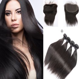 Resika 4 Bundles 50g pcs Straight Virgin Huma Hair Weave With 4*4 Lace Frontal Wet And Wavy Brazilian Hair Weave Bundles Double Weft
