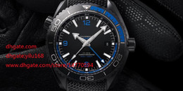 Wholesale Mens Top Quality Planet Ocean CO AXIAL gmt black leather Black blue circles Mens Sports Men s Automatic watches