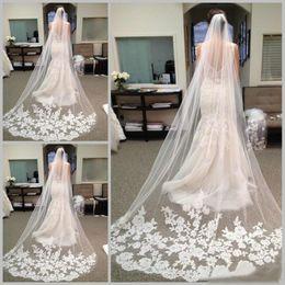 Wholesale Best Selling Chapel Length Bridal Veils with Appliques In Stock Long Wedding Veils Vestido De Noiva Longo Wedding Veil Lace Purfle