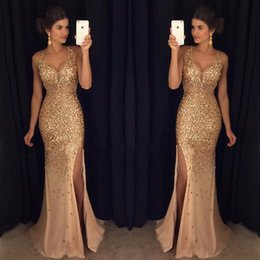 Latest V Neck Mermaid Long Prom Dresses High Split Crystal Beaded Gold Evening Party Prom Gowns