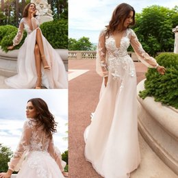 Wholesale Sexy Design Wedding Gown - New Design A Line Wedding Dress Garden Church Bridal Gowns With Sleeves Spring Engagement Dresses Custom Made Quality Appliques