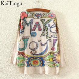 Wholesale KaiTingu New Fashion Autumn And Winter Women Sweater Pullover Long Batwing Sleeve Make Joy Print O Neck Jumper Knitwear