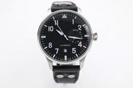 AAA de luxe de qualité supérieure Pilot 7 Day Power Reserve hommes en acier inoxydable Sport Montres bracelet en cuir noir Bracelet Mens Automatic Watch à partir de bracelet en cuir pilote fabricateur