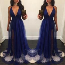 Cheap Royal Blue Long Prom Dresses 2017 Simple Sexy Deep V-Neck Side Split Prom Dress For Party Vestido de festa Customize Prom Gowns