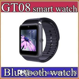 Wholesale 40X Best Quality Bluetooth Smart Watch GT08For Android IOS iPhone Wrist Wear Support Sync SIM TF Card Camera Pedometer Sleep Monitoring C BS