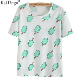 Crème glacée animale à vendre-KaiTingu Marque 2017 Nouvelle mode Vintage style Harajuku T-shirt femmes Vêtements Hauts Emoji Funny Tees Ice Cream Print