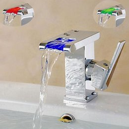 Newly Single Handle Single Hole Bathroom Waterfall Basin Sink Faucet LED Light Changing Mixer Tap Chrome Finish Deck Mounted