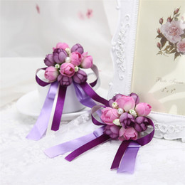 Artificial Flower Wedding Bridal Bouquets Beads Bridesmaid Groomsman Corsage Pretty Bridal Corsage Wedding Decoration Artificial Graduation